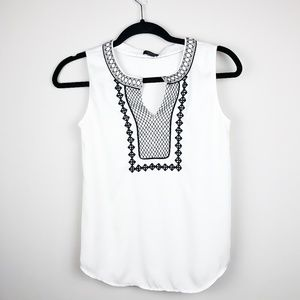 Ann Taylor Petite Black and White Beaded Blouse